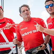 © Maria Muina I MAPFRE. Regata de entrenamiento a bordo del MAPFRE en Auckland. Practice race on board MAPFRE in Auckland.
