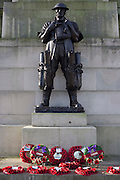 Bronze statue of soldier commemorating First World War battles on the side of the Royal Artillery war memorial at Hyde Park.