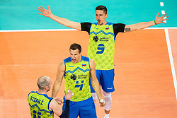 Vincic Dejan #9 and Kozamernik Jan #4 (SLO) during volleyball match between National teams of Slovenia and Finland in 2nd Round in Group C of 2019 CEV Volleyball Men's European Championship in Ljubljana, on September 14, 2019 in Arena Stozice. Ljubljana, Slovenia. Photo by Grega Valancic / Sportida