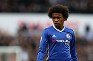 Willian of Chelsea looks on. Premier league match, Stoke City v Chelsea at the Bet365 Stadium in Stoke on Trent, Staffs on Saturday 18th March 2017.<br /> pic by Andrew Orchard, Andrew Orchard sports photography.