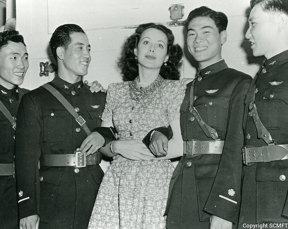 1943 Actress, Hedy Lamarr with Chinese Air Cadets at the Hollywood Canteen
