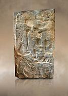 Pictures & images of the North Gate Hittite sculpture stele men hunting. 8th century BC.  Karatepe Aslantas Open-Air Museum (Karatepe-Aslantaş Açık Hava Müzesi), Osmaniye Province, Turkey. Against art background