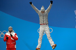 February 12, 2018 - Pyeongchang, South Korea - JOHANNES LUDWIG of Germany celebrates winning the bronze medal in the Men's Singles Luge event in the PyeongChang Olympic games. (Credit Image: © Christopher Levy via ZUMA Wire)