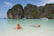 The World famous Maya Bay on Phi Phi Ley. This is where Leonardo di Caprio swam during the movie, The Beach. Now tourists arrive in their hundreds to sit on the same white sand and swim in the same waters. Pure white sand and crystal clear water prove a strong attraction.