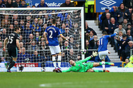 Kevin Mirallas of Everton (r) shoots and scores his teams 1st goal. Premier league match, Everton v West Bromwich Albion at Goodison Park in Liverpool, Merseyside on Saturday 11th March 2017.<br /> pic by Chris Stading, Andrew Orchard sports photography.