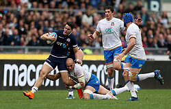 Scotland's Sean Maitland (left) in action during the NatWest 6 Nations match at the Stadio Olimpico, Rome.