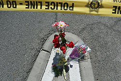 Oct 3, 2017 - Las Vegas, Nevada, U.S. - A makeshift memorial is shown at the perimeter of a police barricade on the Las Vegas Strip near the Route 91 Harvest concert venue Tuesday. A mass shooting occurred late Sunday evening at the music festival.  (Credit Image: © Ronda Churchill via ZUMA Wire)