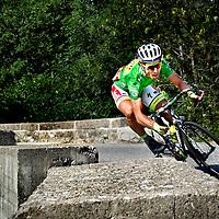 Frankrijk, Col de Manse, 20-07-2015.<br /> Wielrennen, Tour de France.<br /> Etappe van Bourg de Peage naar Gap.<br /> Peter Sagan in de afdaling van de Col de Manse.<br /> Foto: Klaas Jan van der Weij
