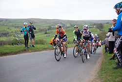 Amy Pieters (NED) of Boels-Dolmans Cycling Team (l), Dani King (GBR) of Cylance Pro Cycling (m) and Juliette Labous (FRA) of Team Sunweb (r) climb up the Cote de Lofthouse during the Tour de Yorkshire - a 122.5 km road race, between Tadcaster and Harrogate on April 29, 2017, in Yorkshire, United Kingdom.