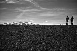 Man and woman in the nature, Burfell, Iceland-  Maður og kona á gangi við Búrfell
