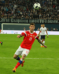 March 27, 2018 - Saint-Petersburg, Russia - Russian Federation. Saint-Petersburg. Arena Saint-Petersburg. Zenit-Arena. Football. Russia - France, Friendly match 1: 3. The football World Cup. The player of national team of Russia on football..Fedor Smolov; Fedor Smolov; (Credit Image: © Russian Look via ZUMA Wire)