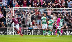 Hearts' Kyle Lafferty scores the opening goal during the Ladbrokes Scottish Premiership match at Tynecastle Stadium, Edinburgh.