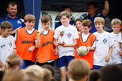 James Hall of Bristol Rugby looks on as Local Junior Schools compete in a Tag Rugby Competion - Mandatory byline: Rogan Thomson/JMP - 07966 386802 - 14/07/2015 - SPORT - RUGBY UNION - Bristol, England - Durdham Downs -  Webb Ellis Cup visits Bristol as part of the 2015 Rugby World Cup Trophy Tour