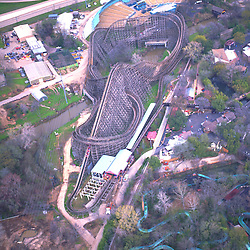Aerial of a roller coaster at Six Flags in Texas.