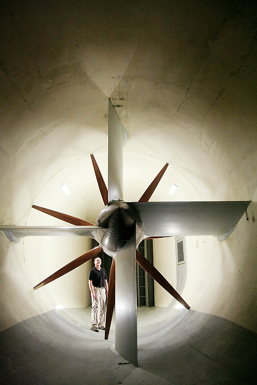 Jack Ross, Aeronautical Laboratory business manager, stands below one of the two mahogany fans that power the Kirsten Wind Tunnel at the University of Washington campus in Seattle, Washington on February 7, 2007.