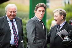 © Licensed to London News Pictures. 18/04/2016. Shirley, UK.  Jimmy Tarbuck (left) and Rob Brydon (centre) arrive for the funeral of comedian, actor, writer Ronnie Corbett, held at St John the Evangelist Church in Shirley near Croydon. Corbett, who was most famous for his comedy sketch show  The Two Ronnies, performed with the late Ronnie Barker, died at the age of 85. Photo credit: Ben Cawthra/LNP