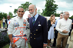 Left to right, LEWIS HAMILTON and HRH PRINCE MICHAEL OF KENT at the Cartier Style et Luxe, the Goodwood Festival of Speed, West Sussex on 13th July 2008.<br /> <br /> NON EXCLUSIVE - WORLD RIGHTS