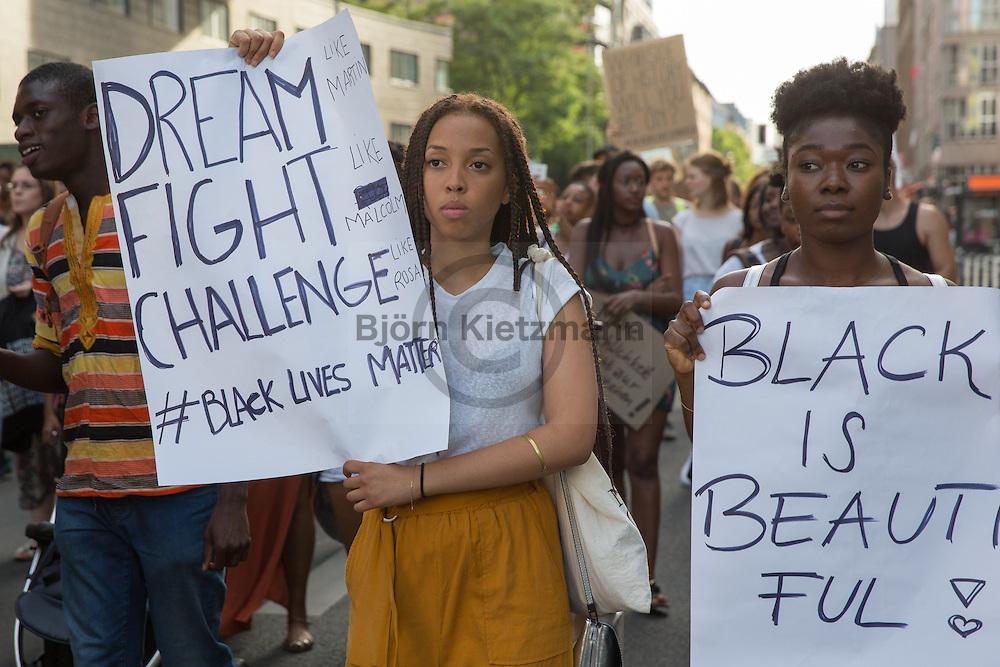 "Berlin, Germany - 22.07.2016<br /> <br /> Hundreds of people protest under the slogan ""Black Lives Matter"" in Berlin against racism.<br /> <br /> Viele hundert Menschen protestieren unter dem Motto ""Black Lives Matter"" in Berlin gegen Rassismus. <br /> <br /> Photo: Bjoern Kietzmann"