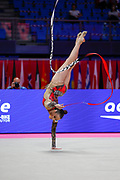 Nicol Zelikman during the qualifications in Pesaro at the Vitrifrigo Arena at the Pesaro World Championships on 28/29 May 2021. Nicol is an Israeli rhythmic gymnastics born on 30 January 2001.