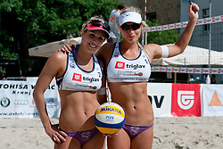 Simona and Erika Fabjan at Zavarovalnica Triglav Beach Volley Open as tournament for Slovenian national championship on July 29, 2011, in Kranj, Slovenia. (Photo by Matic Klansek Velej / Sportida)