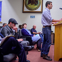 Gallup Mainstreet president Colin McCarty speaks before the Gallup city council at Gallup City Hall Tuesday.
