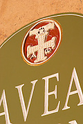 Gerard Bertrand's emblem. Domaine Gerard Bertrand, Chateau l'Hospitalet. La Clape. Languedoc. France. Europe.