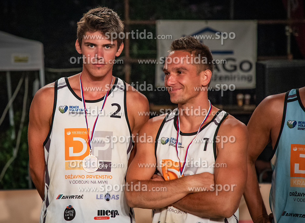 Male 3rd. place Crt Bosnjak and Miha Plot on Beach volley National Championship of Slovenia  on July 20, 2019 in Kranj, Slovenia. Photo by Urban Meglic / Sportida