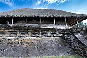 Mesoamerica Palace of the Arts building I at the pre-Columbian archeological complex of El Tajin in Tajin, Veracruz, Mexico. El Tajín flourished from 600 to 1200 CE and during this time numerous temples, palaces, ballcourts, and pyramids were built by the Totonac people and is one of the largest and most important cities of the Classic era of Mesoamerica.