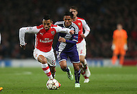 Arsenal's Alexis Sanchez in action during todays match  <br /> Photographer Kieran Galvin/CameraSport<br /> <br /> Football - UEFA Champions League Group D - Arsenal v Anderlecht - Tuesday 4th November 2014 - Emirates Stadium - London<br /> <br /> © CameraSport - 43 Linden Ave. Countesthorpe. Leicester. England. LE8 5PG - Tel: +44 (0) 116 277 4147 - admin@camerasport.com - www.camerasport.com
