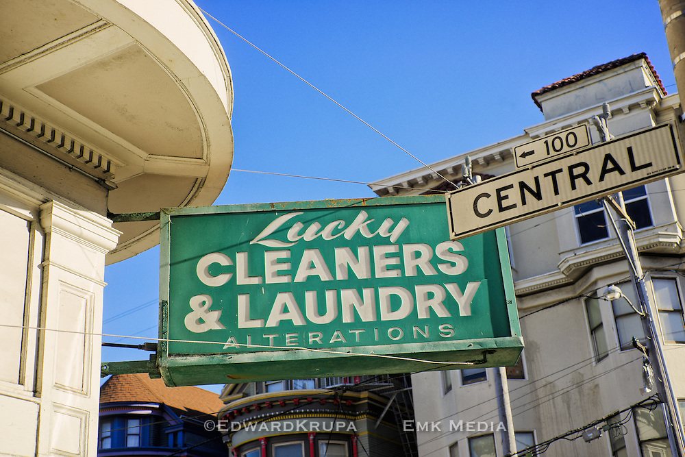 Lucky Cleaners and Laundry sign, Haight and Central, San Francisco, USA.