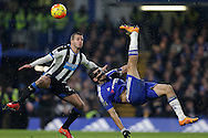 Diego Costa of Chelsea goes close to scoring as he attempts a spectacular bicycle kick at goal.  Barclays Premier league match, Chelsea v Newcastle Utd at Stamford Bridge in London on Saturday 13th February 2016.<br /> pic by John Patrick Fletcher, Andrew Orchard sports photography.