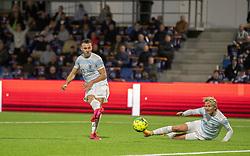 Sebastian Czajkowski (FC Helsingør) scorer til 3-0 under kampen i 1. Division mellem FC Helsingør og Silkeborg IF den 11. september 2020 på Helsingør Stadion (Foto: Claus Birch).