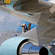 President Barack Obama prepares to depart from Miami International Airport on Air Force One on Thursday, May 28, 2015