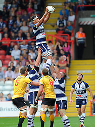 Bristol Lock Ben Glynn catches a line out  - Photo mandatory by-line: Joe Meredith/JMP - Mobile: 07966 386802 - 21/09/2014 - SPORT - FOOTBALL - Bristol - Ashton Gate - Bristol Rugby v Cornish Pirates - Greene King IPA Championship