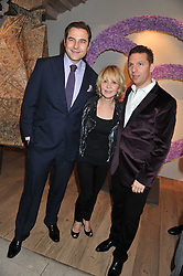 Left to right, DAVID WALLIAMS,LULU and NICK CANDY at a reception to celebrate the publication of Candy and Candy: The Art of Design held at the Halcyon Gallery, 24 Bruton Street, London W1 on 26th October 2011.