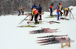 Preparing skiis at Ladies` Pursuit 7,5 km Classic + 7,5 km Free at FIS Nordic World Ski Championships Liberec 2008, on February 21, 2009, in Vestec, Liberec, Czech Republic. (Photo by Vid Ponikvar / Sportida)