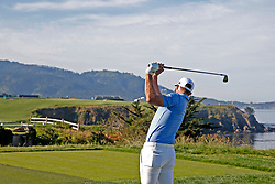 June 11, 2019 - Pebble Beach, CA, U.S. - PEBBLE BEACH, CA - JUNE 11: PGA golfer Dustin plays the 9th hole during a practice round for the 2019 US Open on June 11, 2019, at Pebble Beach Golf Links in Pebble Beach, CA. (Photo by Brian Spurlock/Icon Sportswire) (Credit Image: © Brian Spurlock/Icon SMI via ZUMA Press)