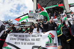 Pro-Palestinian protesters gather around Nelson's column in Trafalgar Square during the National Demonstration for Palestine on 22nd May 2021 in London, United Kingdom. The demonstration was organised by pro-Palestinian solidarity groups in protest against Israel's recent attacks on Gaza, its incursions at the Al-Aqsa mosque and its attempts to forcibly displace Palestinian families from the Sheikh Jarrah neighbourhood of East Jerusalem.