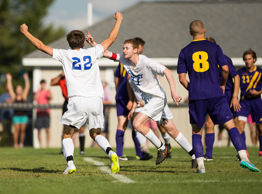 Tim Stanton of Colby College celebrates an overtime winning goal in a NCAA Division III soccer game against Williams College on September 19, 2015 in Waterville, ME. (Dustin Satloff/Colby College Athletics)