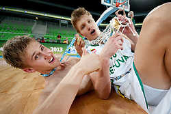 Egidijus Mockevicius of Lithuania after basketball match between National teams of Lithuania and France in final match of U20 Men European Championship Slovenia 2012, on July 22, 2012 in SRC Stozice, Ljubljana, Slovenia. (Photo by Urban Urbanc / Sportida.com)
