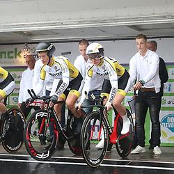 30-09-2017: Wielrennen: Nederlands kampioenschap clubteams: Dronten   <br /> WV Noord-Holland heeft voor de zevende keer het Nederlands Club Kampioenschap in Dronten gewonnen. Met een tijd van 47.33 was men veruit de snelste. De titel werd behaald door Natalie van Gogh, Amy Pieters, Chanella Stougje en Roxane Knetemann.