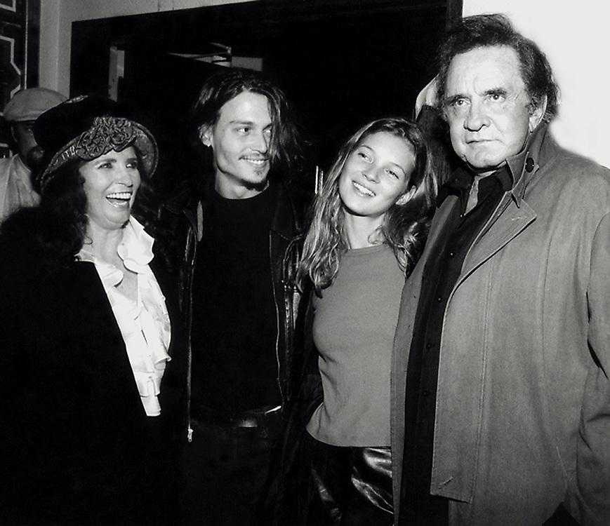 June Carter Cash, Johnny Depp, Kate Moss and Johnny Cash backstage at the Fez Under Time Cafe, East Village, April 1994, New York, New York