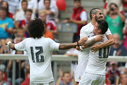 04.08.2015, Allianz Arena, Muenchen, GER, AUDI CUP, Real Madrid vs Tottenham Hotspur, im Bild vl: Marcelo (Real Madrid CF #12), Isco ( (Real Madrid CF #22) und Torschuetze James Rodriguez (Real Madrid CF #10) beim Torjubel nach dem Treffer zum 1:0 // during the 2015 Audi Cup Match between Real Madrid and Tottenham Hotspur at the Allianz Arena in Muenchen, Germany on 2015/08/04. EXPA Pictures © 2015, PhotoCredit: EXPA/ Eibner-Pressefoto/ Schüler<br /> <br /> *****ATTENTION - OUT of GER*****