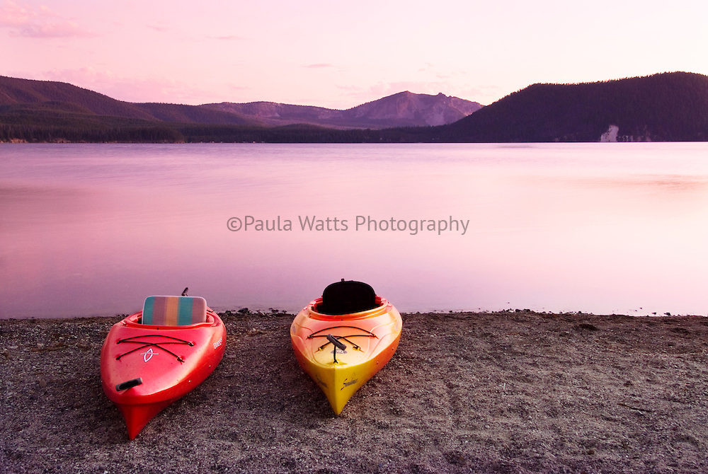 Kayaks at East Lake during sunset