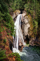 The lower of the two Twin Falls, this massive 150-foot cascade on the South Fork Snoqualmie River is located 35 miles east of Seattle, Wa.