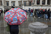 A London tourists umbrella in Trafalgar Square, Westminster, on 9th April 2019, in London, England.