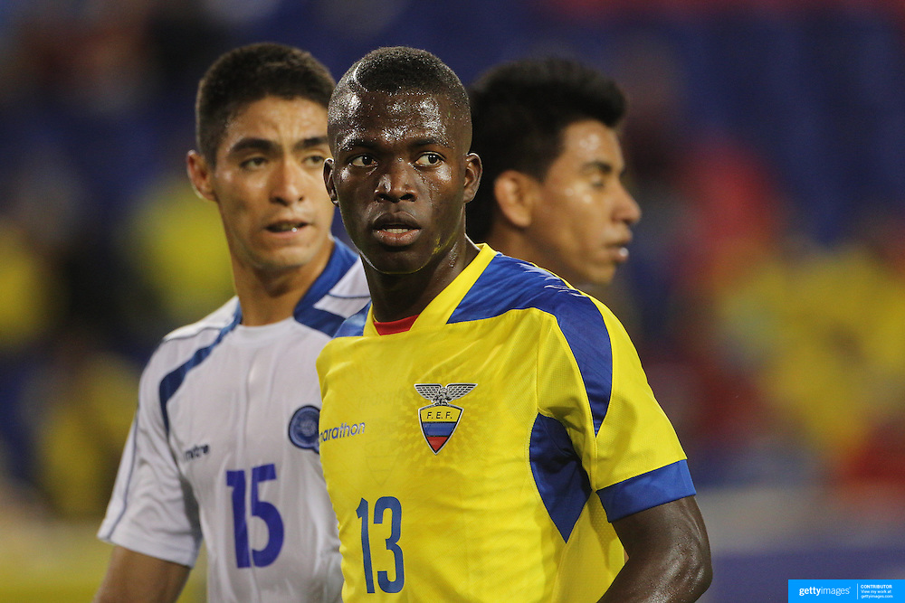 Enner Valencia, Ecuador, moves in to score his second goal during the Ecuador Vs El Salvador friendly international football match at Red Bull Arena, Harrison, New Jersey. USA. 14th October 2014. Photo Tim Clayton