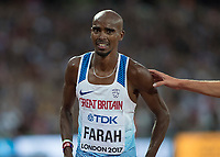 Athletics - 2017 IAAF London World Athletics Championships - Day Nine, Evening Session<br /> <br /> Mens 5000m Final<br /> <br /> Mo Farah (Great Britain) looks disappointed after losing his title at the London Stadium<br /> <br /> COLORSPORT/DANIEL BEARHAM