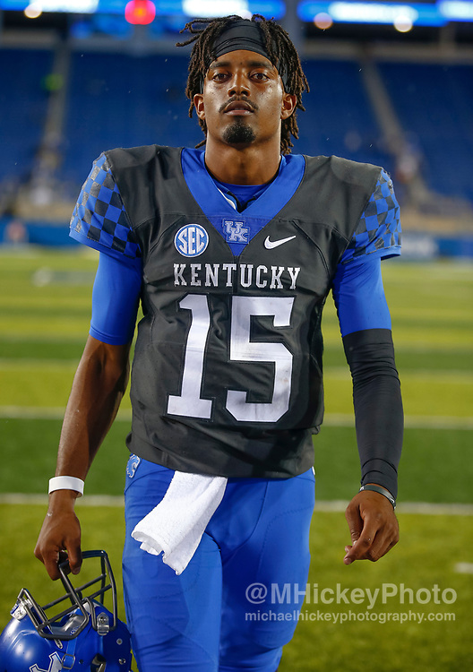 LEXINGTON, KY - OCTOBER 07: Stephen Johnson #15 of the Kentucky Wildcats walks off the field after the game against the Missouri Tigers at Commonwealth Stadium on October 7, 2017 in Lexington, Kentucky. (Photo by Michael Hickey/Getty Images) *** Local Caption *** Stephen Johnson