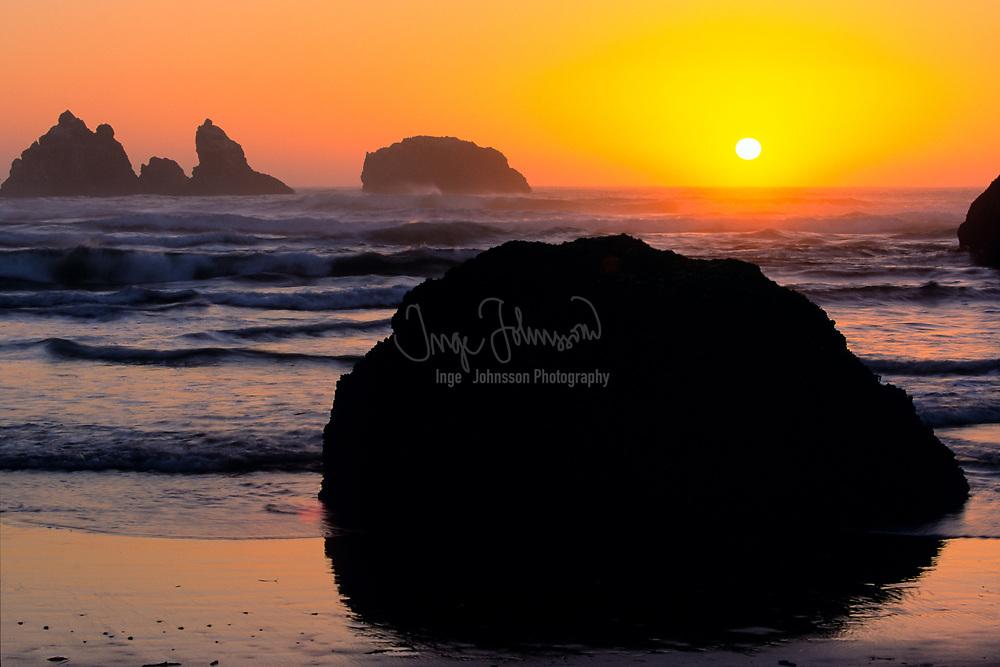 Sunset at Bandon Beach, Oregon